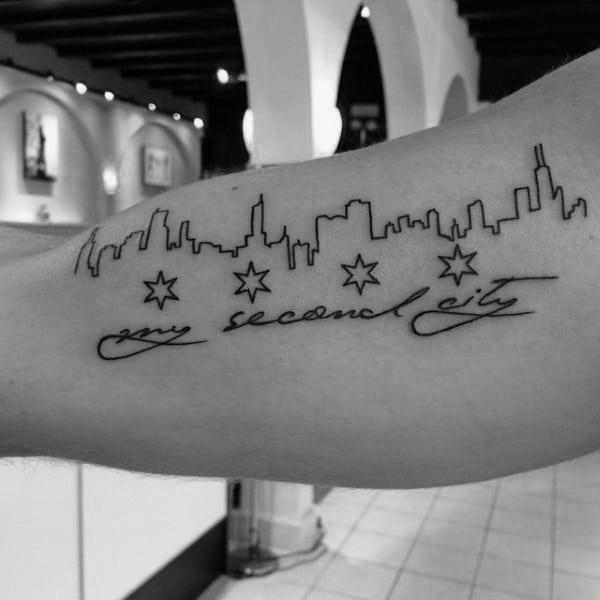Bicep Guys Chicago Skyline Black Ink Line Tattoo