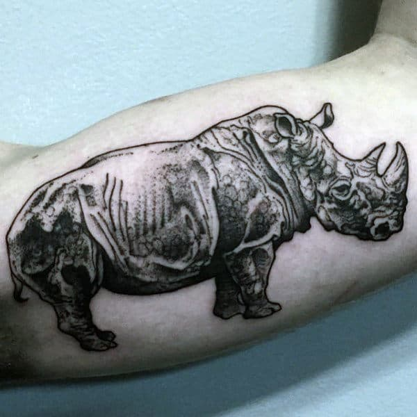 Bicep Guys Dotwork Rhino Tattoo Design Ideas