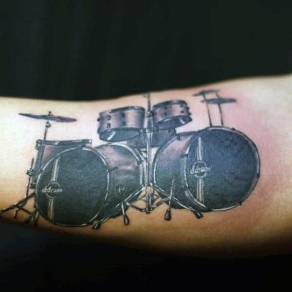 Bicep Guys Drum Set Shaded Black Ink Tattoo Ideas