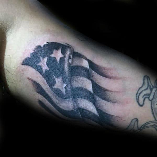 Bicep Guys Patriotic Flag Tattoo Ideas
