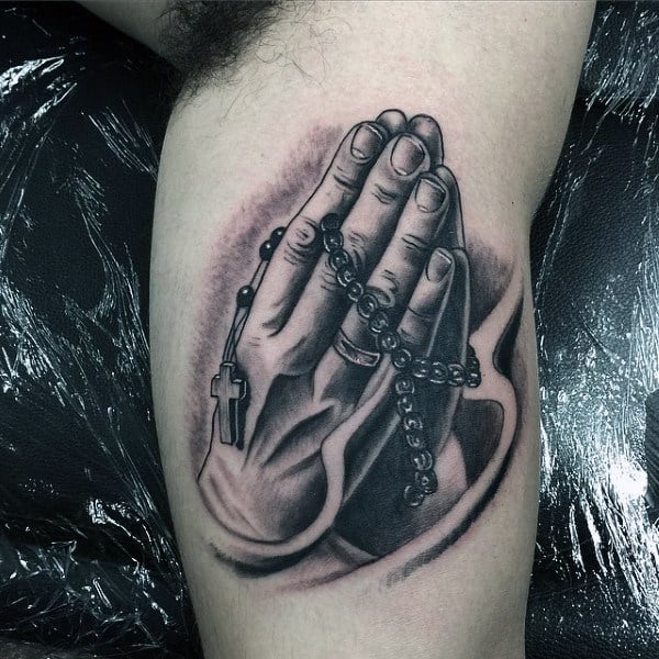 Bicep Guys Praying Hands Tattoo With Rosary Beads