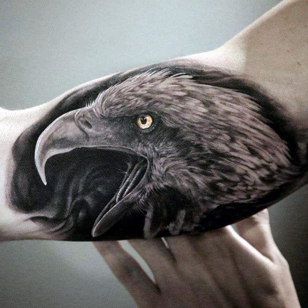 Bicep Guys Realistic Cawing Eagle Tattoo