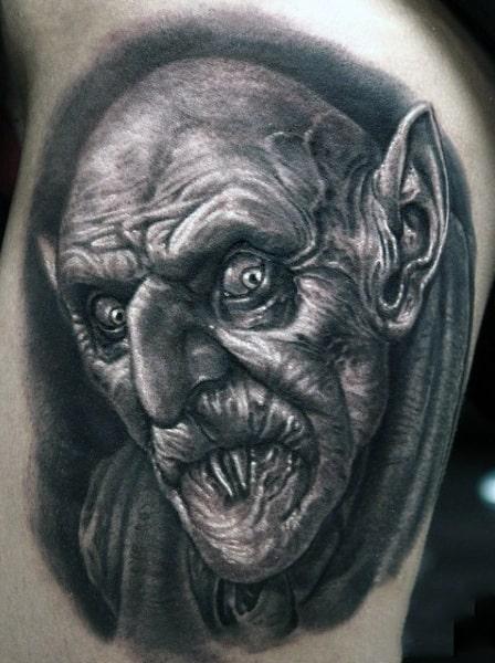 Bicep Guys Vampire Bite Tattoo Designs