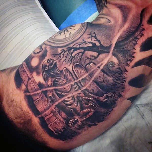 Bicep Haunted House Graveyard Tattoos For Men