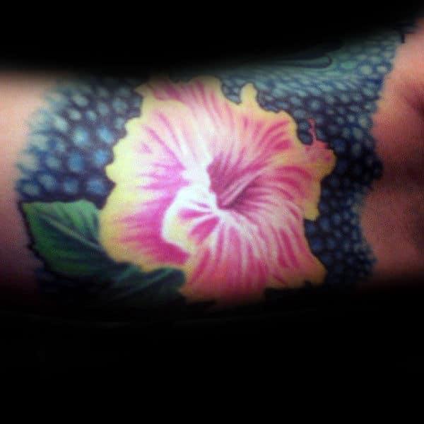 Bicep Hibiscus Flower Mens Realistic Tattoos