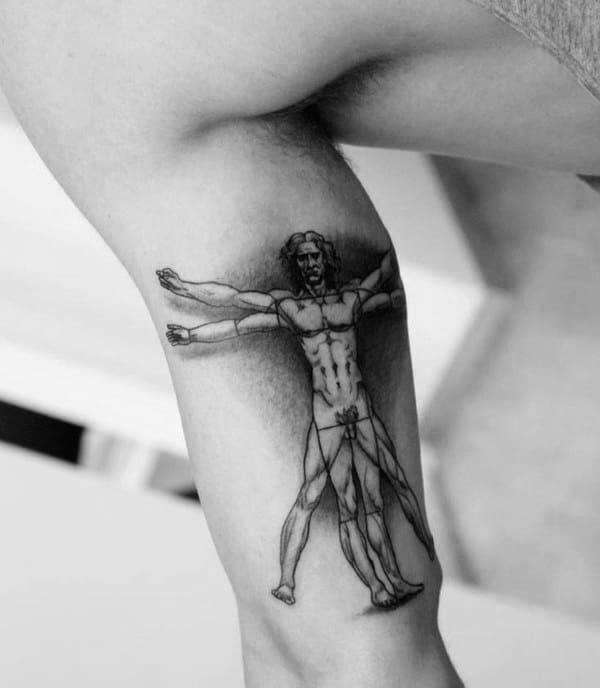 Bicep Inner Arm Vitruvian Man Guys Shaded Tattoos