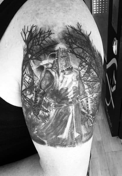 Bicep Knights Templar Cross Tattoo For Men