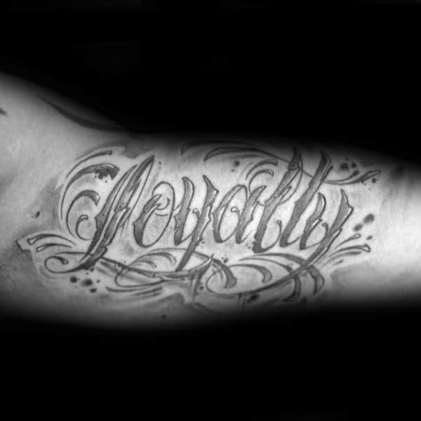 Bicep Lettering Gentlemens Loyalty Tattoos