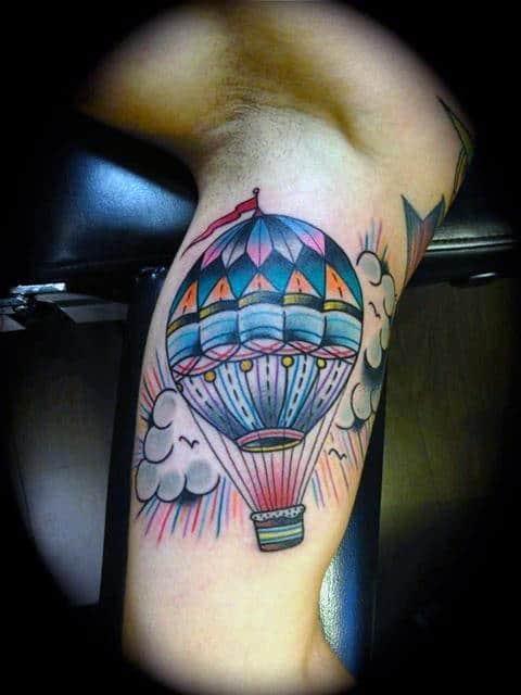 Bicep Male Hot Air Balloon Tattoo Design Ideas