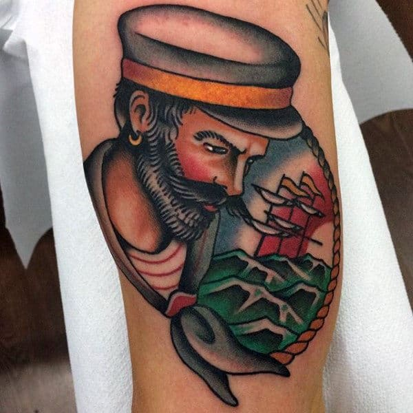 Bicep Male Sailor Inspired Tattoos