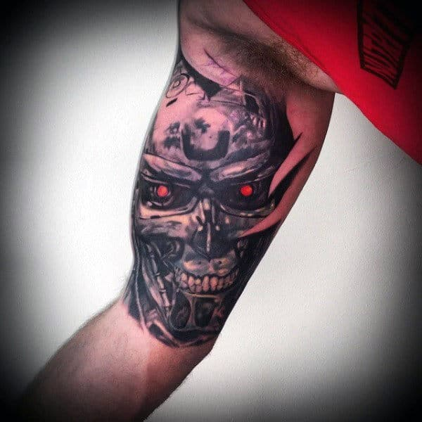Bicep Male Terminator Tattoo Ideas