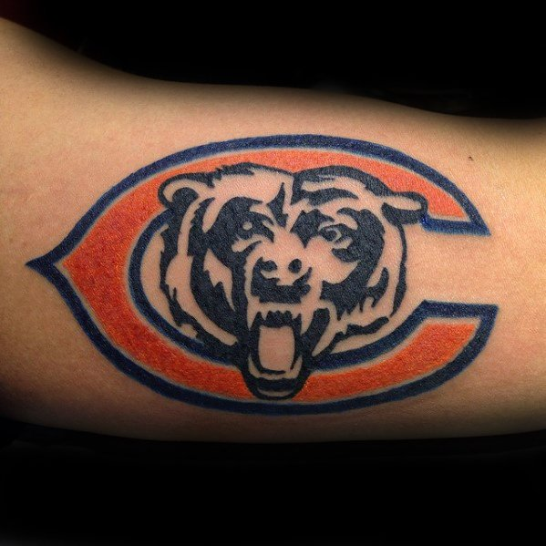 Bicep Masculine Chicago Bears Tattoos For Men