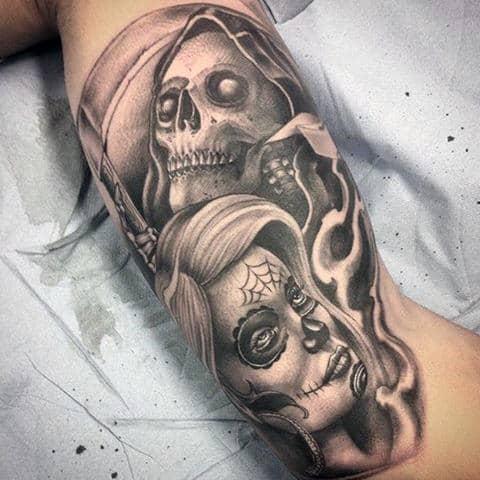 Bicep Masculine Grim Reaper Design Ideas For Tattoos