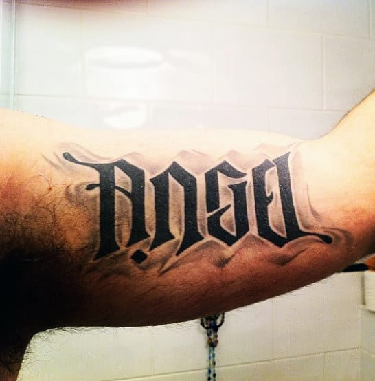 Bicep Mens Ambigram Tattoo Design