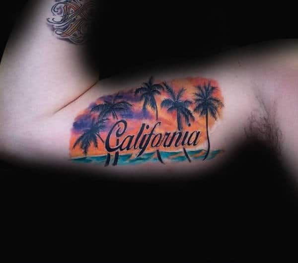 Bicep Mens California Ocean Palm Tree Tattoo