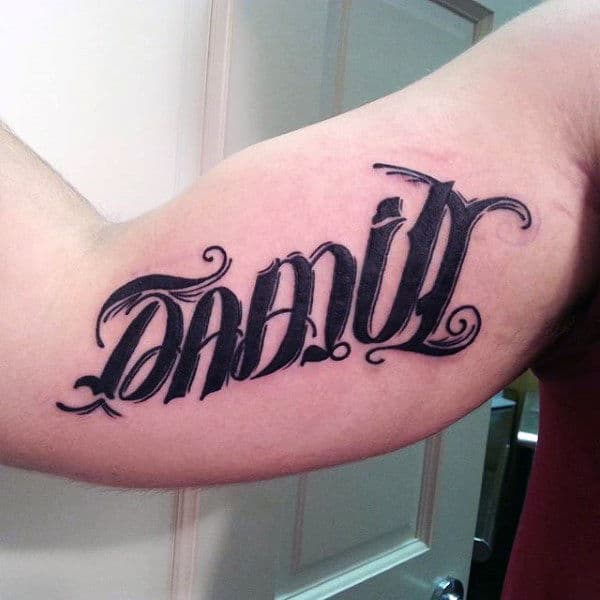 Bicep Mens Family Ambigram Tattoos In Black Ink