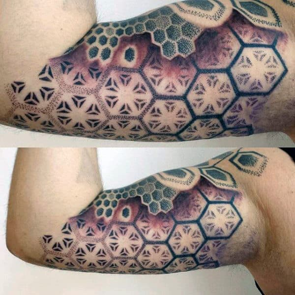 Bicep Mens Geometric Sacred Tattoo