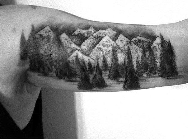 Bicep Men's Japanese Mountain Tattoo