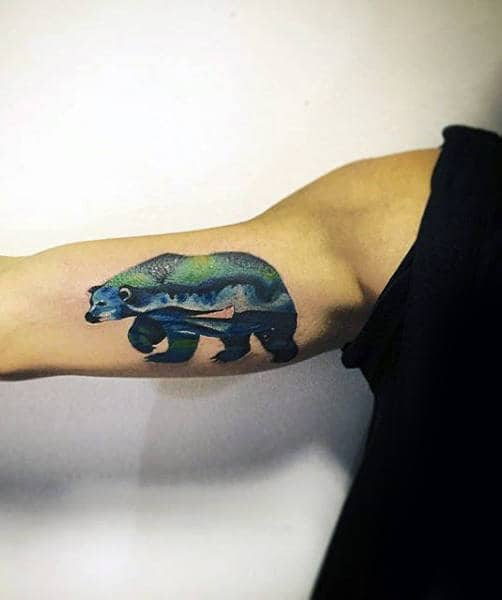 Bicep Mens Polar Bear Northern Lights Tattoo Design