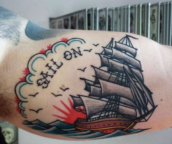 Bicep Mens Sailor Jerry Style Tattoos With Sail On