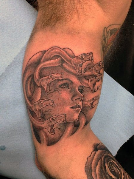 Bicep Mens Shading Medusa Tattoo Design Ideas