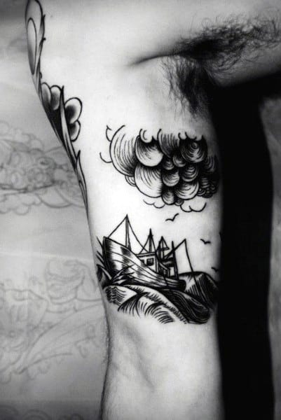 Bicep Mens Ship And Storm Cloud Tattoos