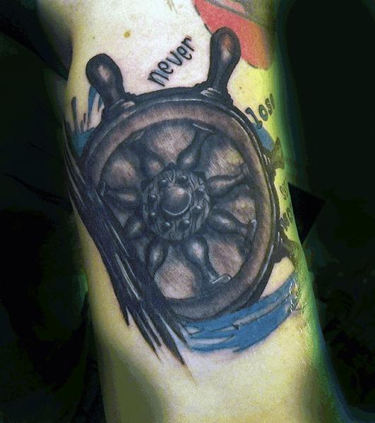 Bicep Mens Ship Wheel Tattoos