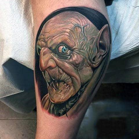 Bicep Mens Spooky Vampire Tattoo Face Ideas