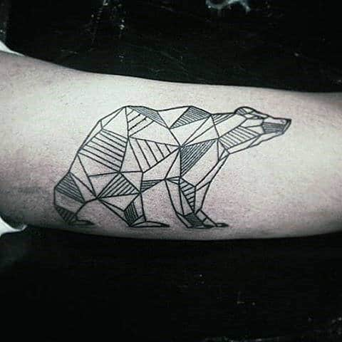 Bicep Mens Tattoo Line Work Of Bear