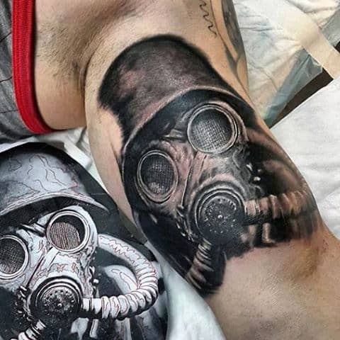 Bicep Military Gas Mask Guys Tattoo In Black Ink