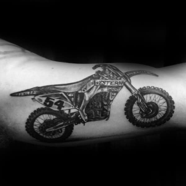 Bicep Motocross Shaded Tattoo Ideas