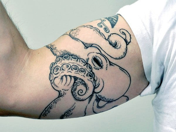 Bicep Octopus Pirate Ship Tattoo For Men