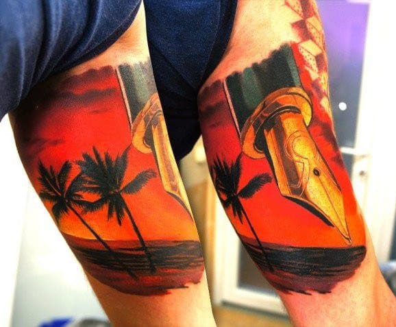 Bicep Pen Tip Beach Tattoo For Men On Bicep