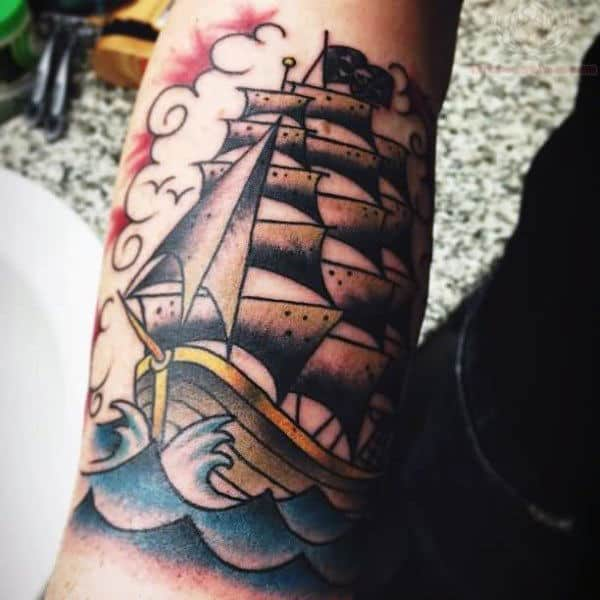 Bicep Pirate Ship Men's Tattoo Ideas