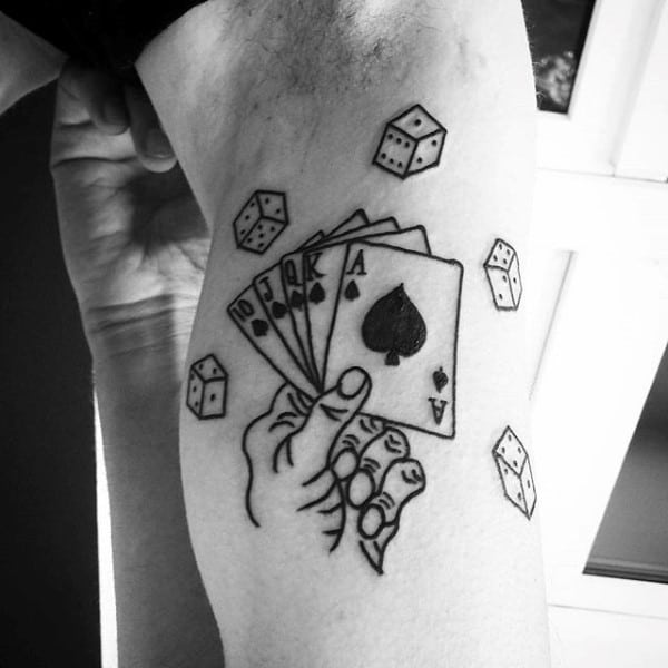 Bicep Playing Card Black Ink Outline Guys Tattoo