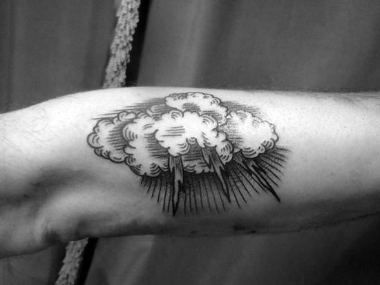Bicep Rain Cloud Tattoo For Men