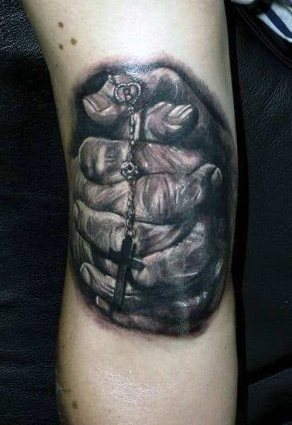 Bicep Realistic Guys Praying Hands With Cross Tattoos