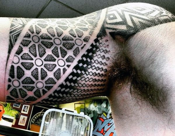 Bicep Sacred Geometric Tattoo Designs For Men
