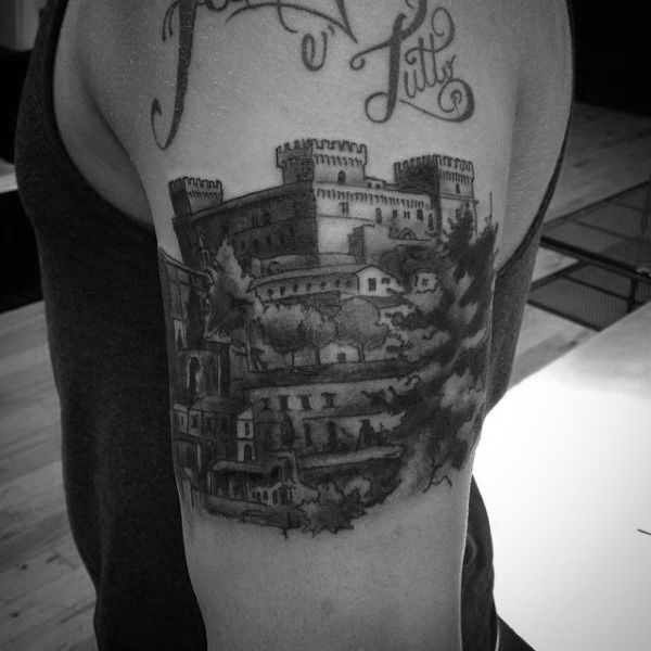 Bicep Scottish Mens Castle Tattoo Design