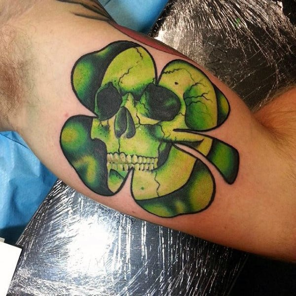 Bicep Skull 4 Leaf Clover Tattoos For Males