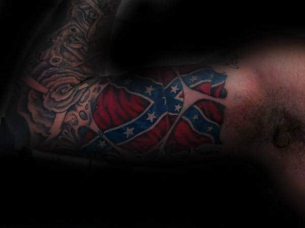 Bicep Sleeve Male Confederate Rebel Flag Tattoo Design Idea Inspiration