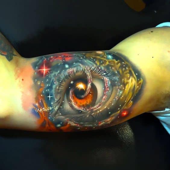Bicep Space Eye Tattoo