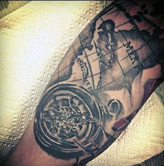 bicep tattoo of map with compass for men