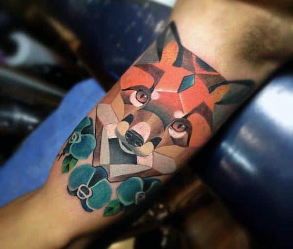 Fox Bicep Tattoos For Guys