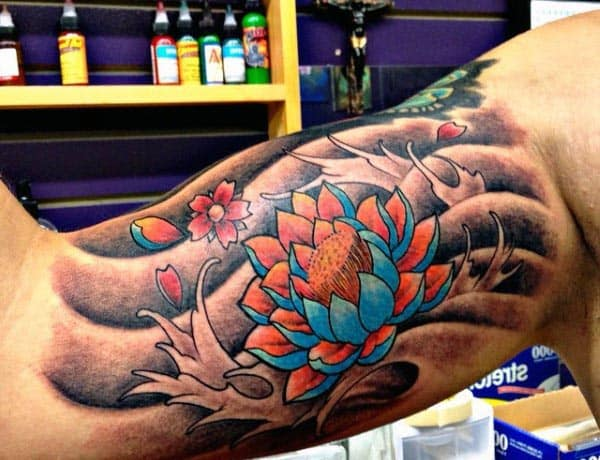 Flower Bicep Tattoos For Men