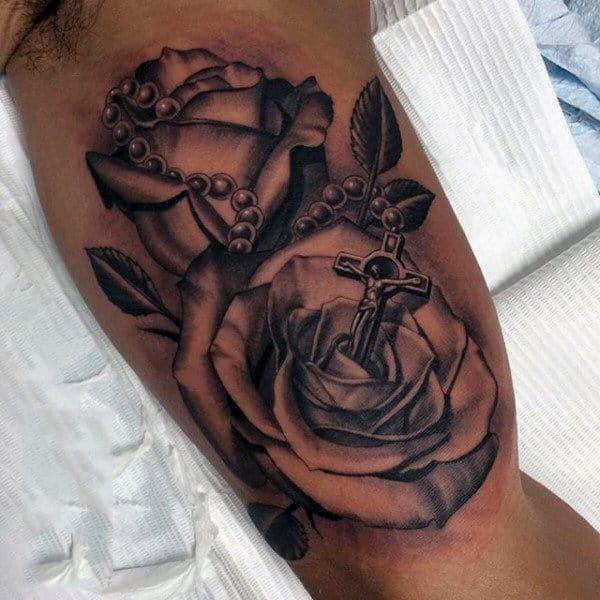 Bicep Tattoos Rosaries On Men
