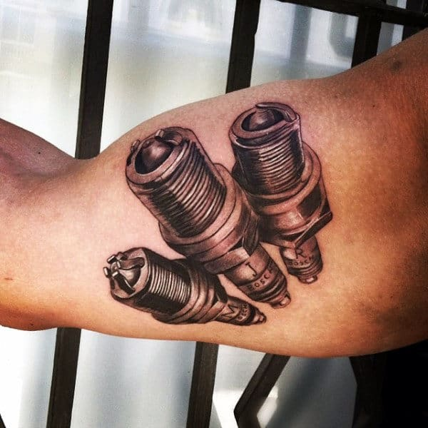 Bicep Three Small Engine Equipment Spark Plug Tattoo Ideas
