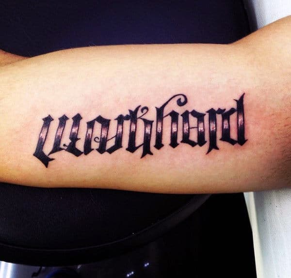 Bicep Unique Mens Ambigram Tattoos