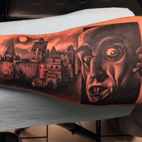 Bicep Vampire Night Scene Tatto With Castle On Man