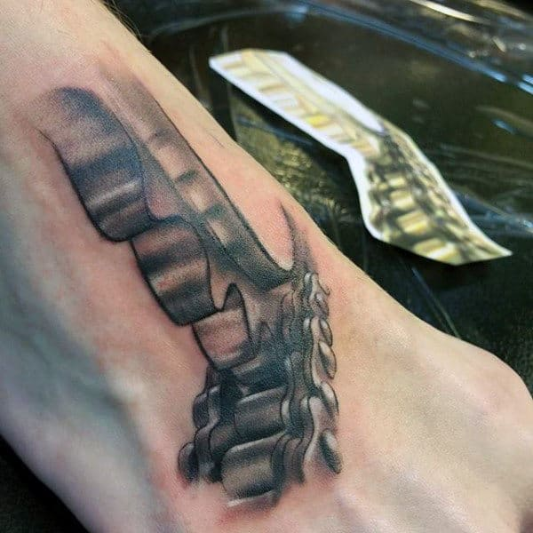 Bicycle Chain Tattoo For Males On Foot
